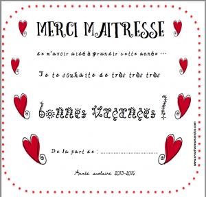 Carte Merci Maitresse gratuit