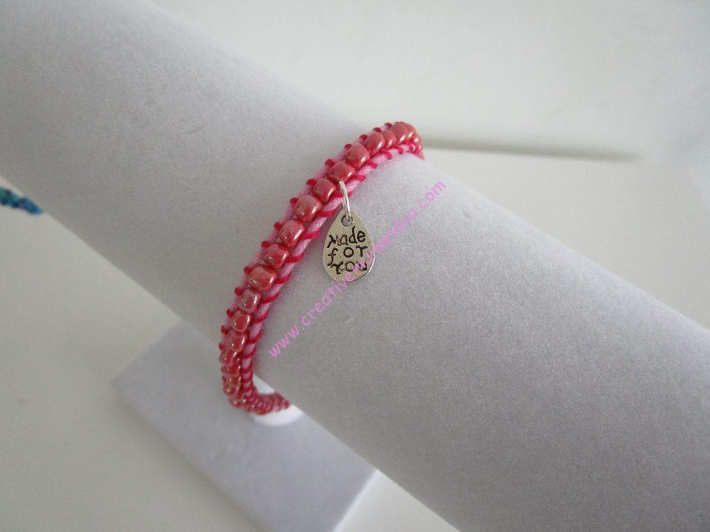 Tuto de bracelet tissé modèle rose