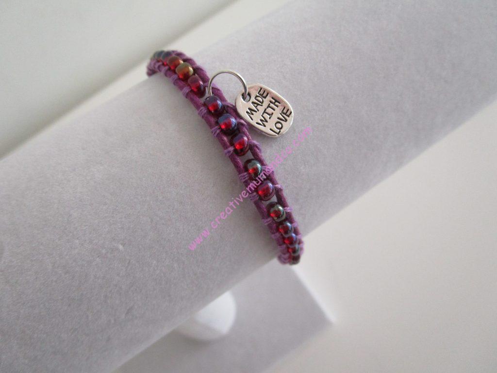 Tuto de bracelet tissé modèle violet