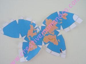 globe terrestre en papier découpe