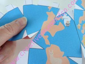 globe terrestre en papier découpe zoom