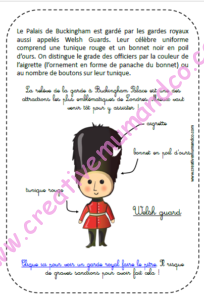 un carnet de voyages enfants Londres welsh guard